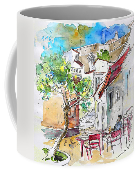 Water Colour Travel Sketch Castro Marim Portugal Algarve Miki Coffee Mug featuring the painting Castro Marim Portugal 01 by Miki De Goodaboom