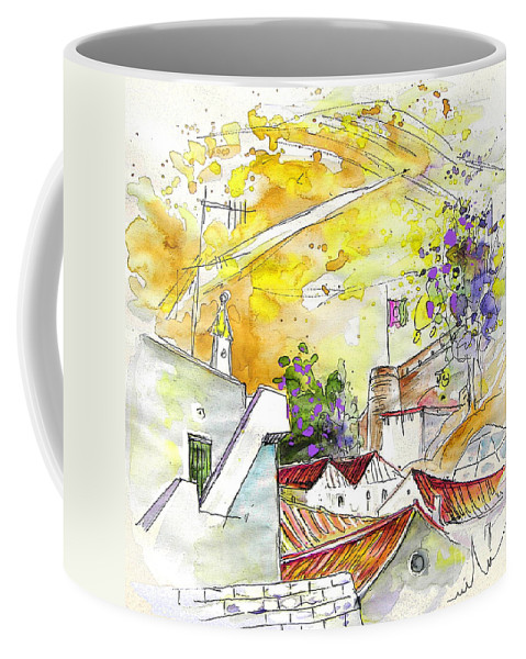 Water Colour Travel Sketch Castro Marim Portugal Algarve Miki Coffee Mug featuring the painting Castro Marim Portugal 03 by Miki De Goodaboom
