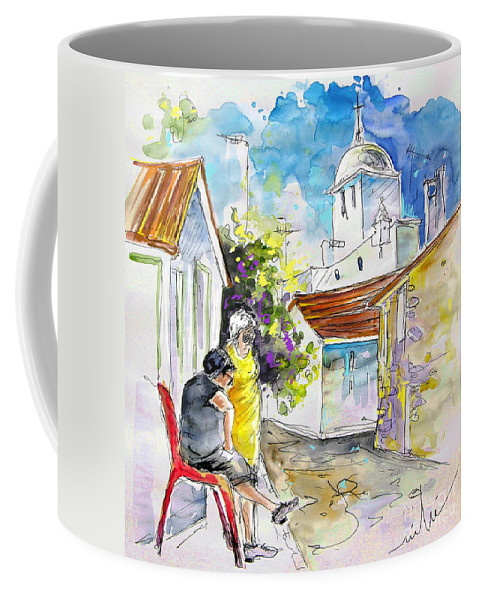 Water Colour Travel Sketch Castro Marim Portugal Algarve Miki Coffee Mug featuring the painting Castro Marim Portugal 04 by Miki De Goodaboom