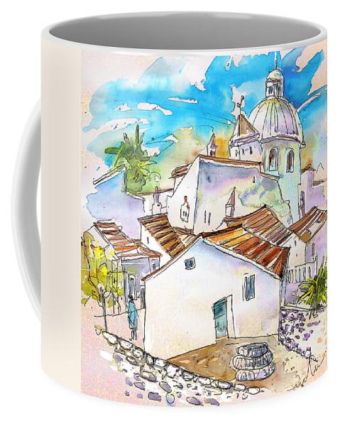 Water Colour Travel Sketch Castro Marim Portugal Algarve Miki Coffee Mug featuring the painting Castro Marim Portugal 05 by Miki De Goodaboom