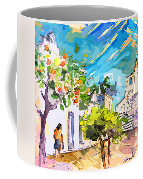 Castro Marim Portugal Algarve Painting Travel Sketch Coffee Mug featuring the painting Castro Marim Portugal 15 Bis by Miki De Goodaboom