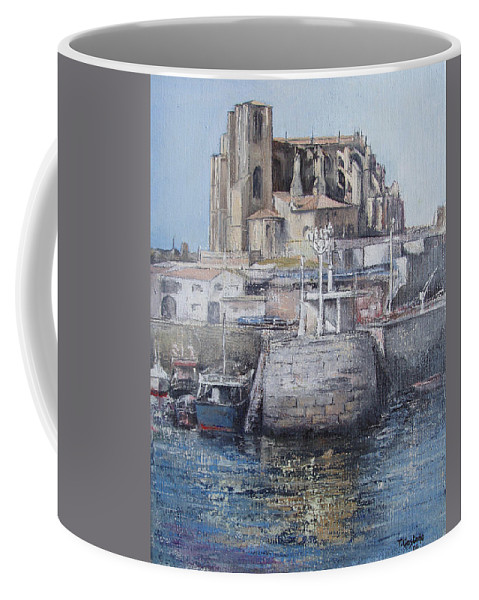 Castro Coffee Mug featuring the painting Castro Urdiales by Tomas Castano