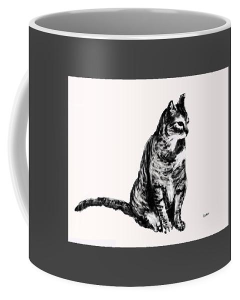Cat2 Coffee Mug featuring the digital art Cat 2 by Uma Krishnamoorthy
