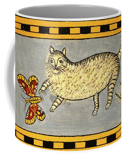 Cat Coffee Mug featuring the painting Cat And Butterfly by Unknown
