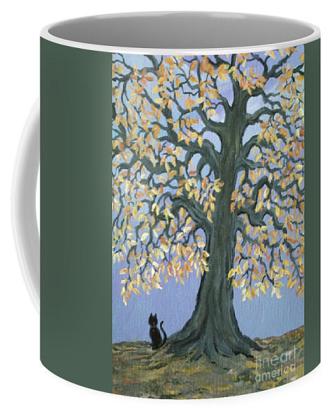 Cat Coffee Mug featuring the painting Cat And Crow by Nick Gustafson