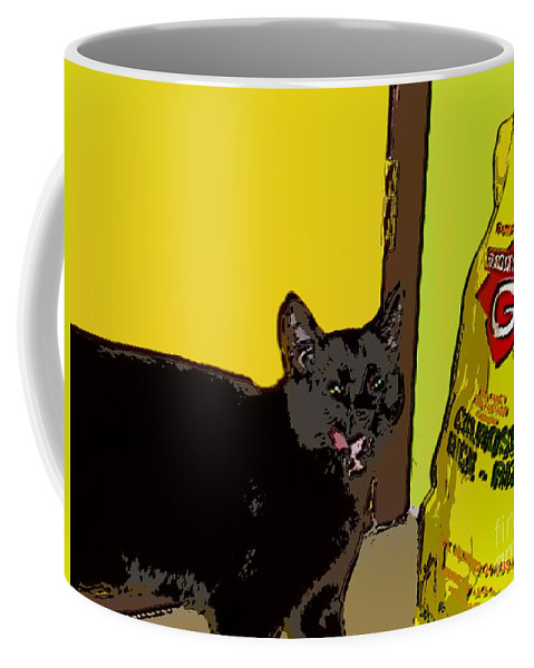 Photograph Cat Black Rice Yellow Critter Green Red Coffee Mug featuring the photograph Cat And Rice by Seon-Jeong Kim