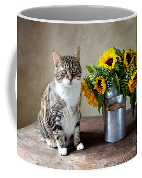 Cat Coffee Mug featuring the painting Cat And Sunflowers by Nailia Schwarz