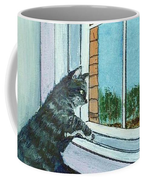 Cat Coffee Mug featuring the painting Cat By The Window by Anastasiya Malakhova