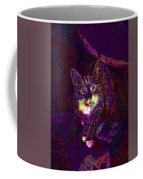 Cat Coffee Mug featuring the digital art Cat Contemporary Design Brown by PixBreak Art