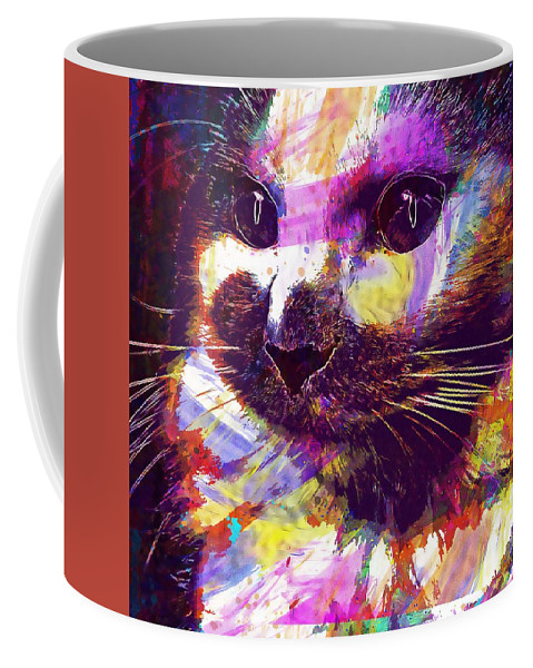 Cat Coffee Mug featuring the digital art Cat Head Face Macro Close Up by PixBreak Art