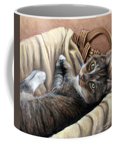 Animal Coffee Mug featuring the pastel Cat In A Basket by Susan Jenkins