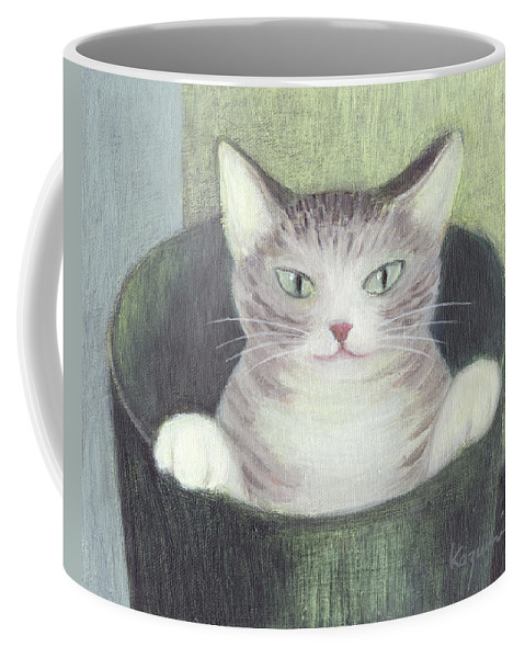 Coffee Mug featuring the painting Cat In A Bucket by Kazumi Whitemoon
