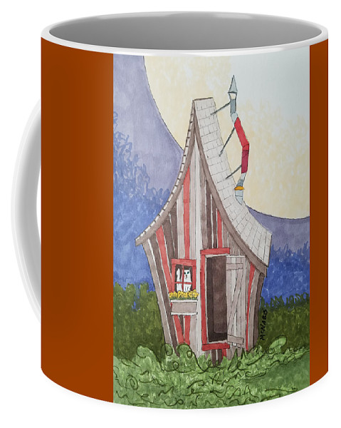 Cat Coffee Mug featuring the painting Cat In A Shack by Johnny McNabb