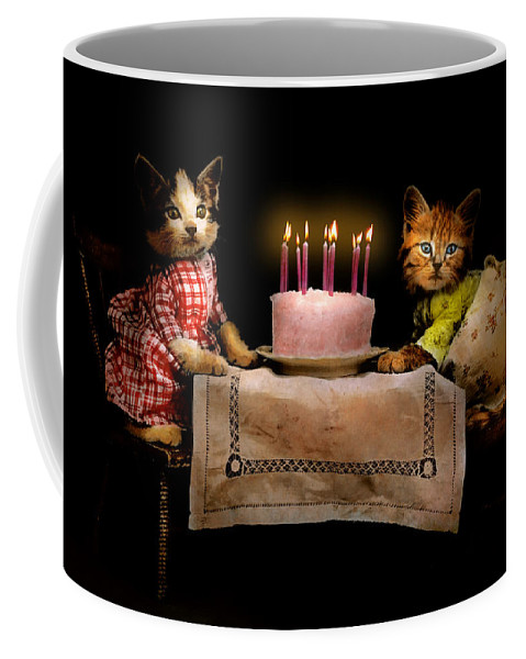 Cat Coffee Mug featuring the photograph Cat - It's Our Birthday - 1914 by Mike Savad