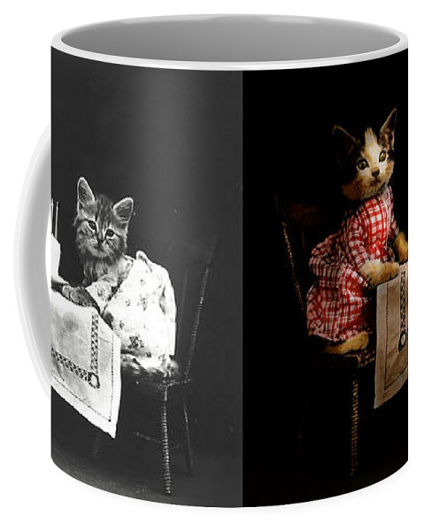 Cat Coffee Mug featuring the photograph Cat - It's Our Birthday - 1914 - Side By Side by Mike Savad