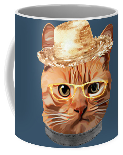 Cat Coffee Mug featuring the digital art Cat Kitty Kitten In Clothes Yellow Glasses Straw by Trisha Vroom