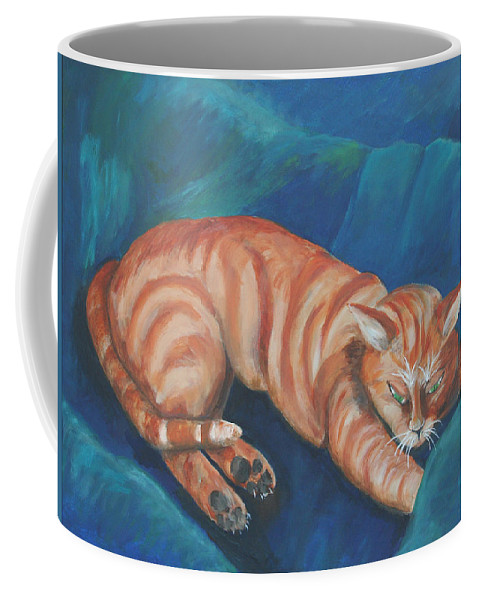 Cat Napping Coffee Mug featuring the painting Cat Napping by Gail Daley