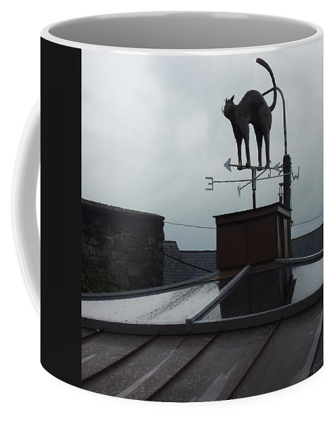 Cat Coffee Mug featuring the photograph Cat On A Cool Tin Roof by Tim Nyberg