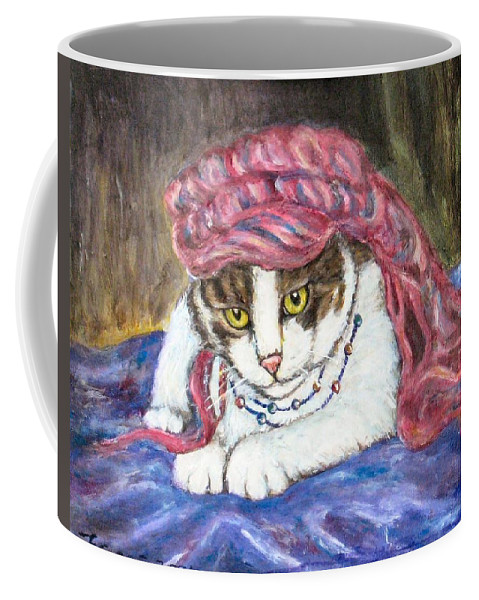 Cat Painting Coffee Mug featuring the painting Tabby Cat With Yellow Eyes by Frances Gillotti