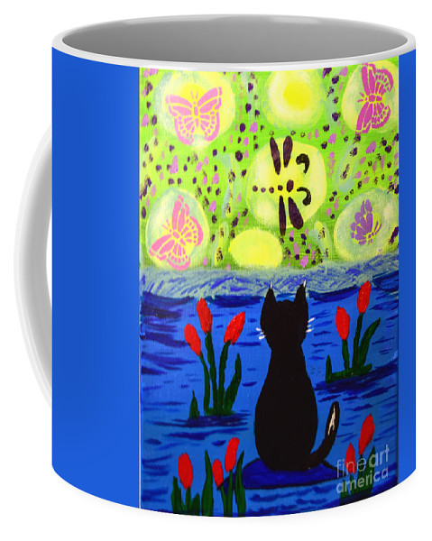 Peggy Franz Photography Coffee Mug featuring the photograph Cat Tv Watching Bugs by Peggy Franz