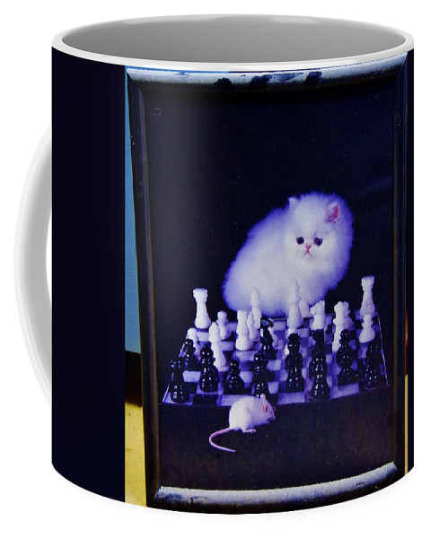 Cat Coffee Mug featuring the photograph Cat With Chess Board Anbd Mouse by Phyllis Spoor