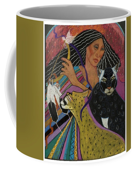This Beautiful Mayan Woman Dances With Her Rattle And Cats Under The Moon Black Panther And Cheetah Central American Shamaness. Pastel Painting On Sandpaper Fantasy Coffee Mug featuring the pastel Cat Woman From Palenque by Pamela Mccabe