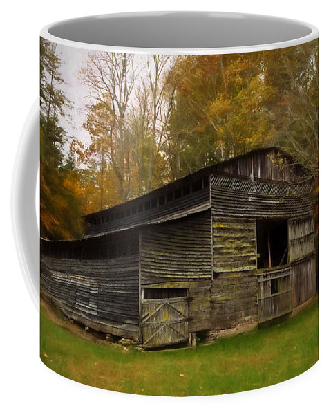 Antlers Coffee Mug featuring the painting Cataloochee Valley Barn by Jonas Wingfield