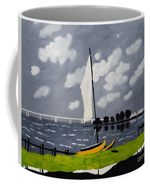 Landscape Coffee Mug featuring the painting Catamaran Cambridge, Md. by Lesley Giles