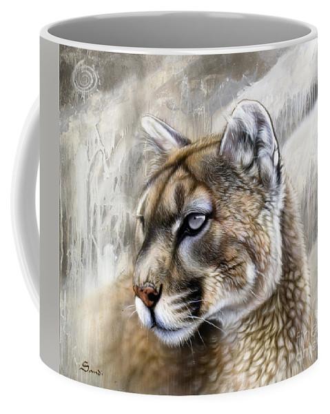 Acrylic Coffee Mug featuring the painting Catamount by Sandi Baker