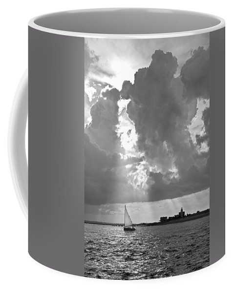 Catboat Coffee Mug featuring the photograph Catboat In Barnstable Harbor by Charles Harden