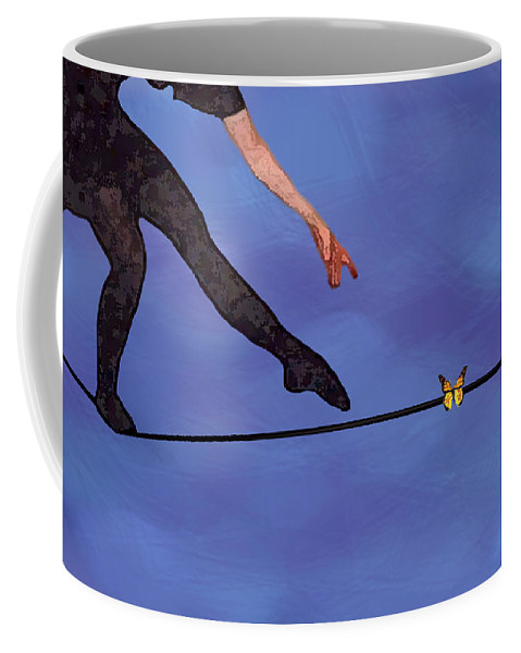 Surreal Coffee Mug featuring the painting Catching Butterflies by Steve Karol