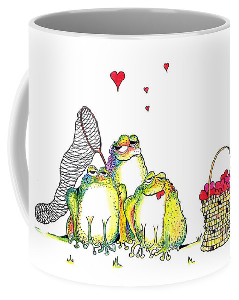 Valentine Card Coffee Mug featuring the painting Catching Hearts by Pat Saunders-White