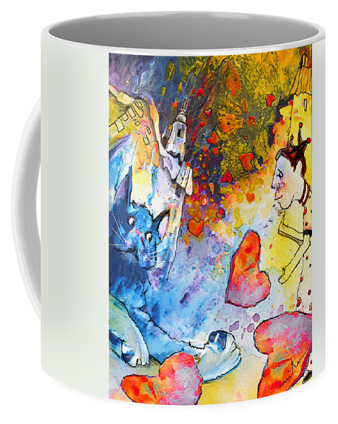 Fantasy Coffee Mug featuring the painting Catching Love by Miki De Goodaboom