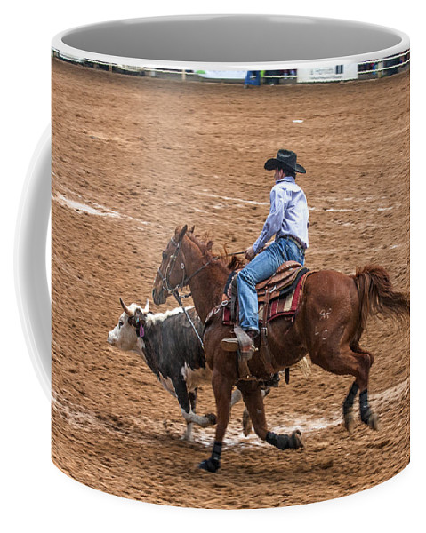 Rodeo Action Coffee Mug featuring the photograph Catching Up by Sally Weigand