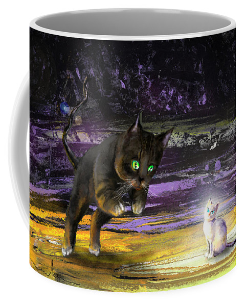 Cats Coffee Mug featuring the painting Catechismic Apparition by Miki De Goodaboom