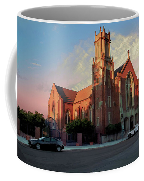 Cathedral Coffee Mug featuring the digital art Cathedral At Dawn by Terry Davis
