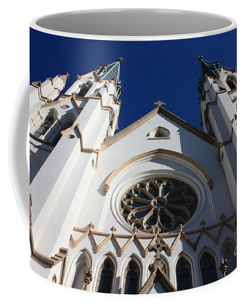 Cathedral Of St John The Babtist Coffee Mug featuring the photograph Cathedral Of St John The Babtist In Savannah by Carol Groenen