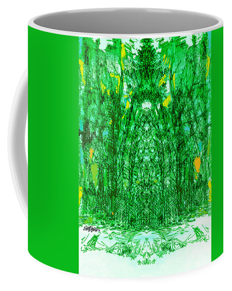 Cathedral Coffee Mug featuring the digital art Cathedral Of Trees by Seth Weaver