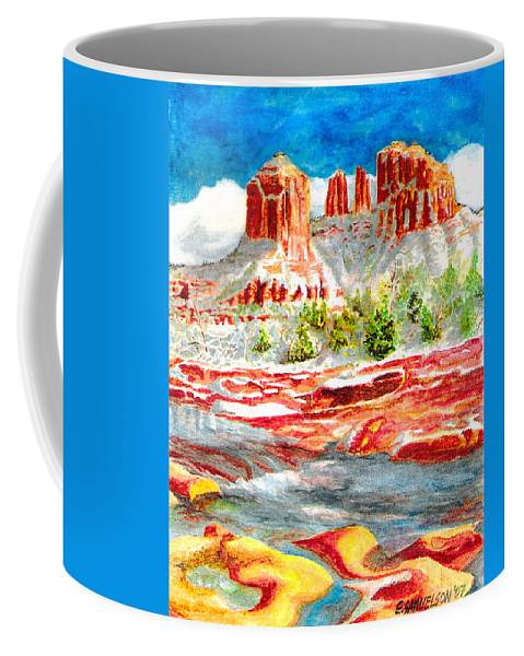 Sedona Coffee Mug featuring the painting Cathedral Rock Crossing by Eric Samuelson