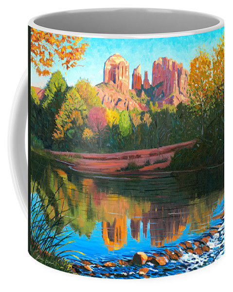 Oak Creek Coffee Mug featuring the painting Cathedral Rock - Sedona by Steve Simon