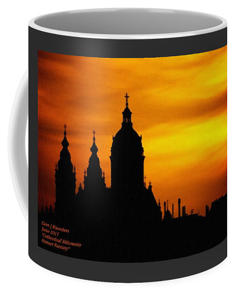 Cathedral.sunset Coffee Mug featuring the digital art Cathedral Silhouette Sunset Fantasy L A by Gert J Rheeders