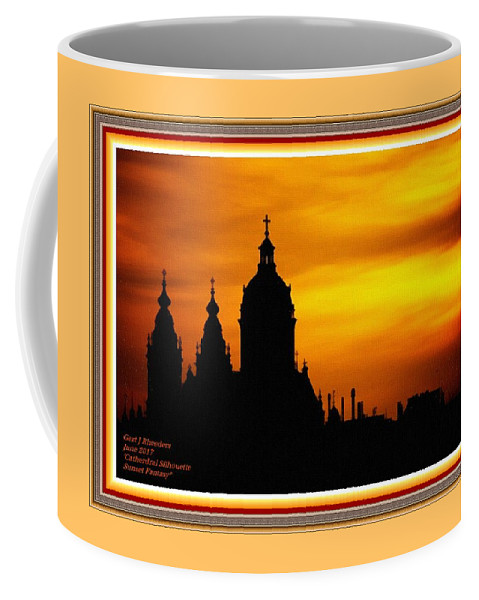 Cathedral.sunset Coffee Mug featuring the digital art Cathedral Silhouette Sunset Fantasy L A With Alt. Decorative Ornate Printed Frame. by Gert J Rheeders