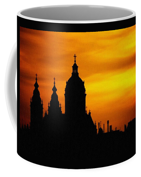 Cathedral.sunset Coffee Mug featuring the digital art Cathedral Silhouette Sunset Fantasy L B by Gert J Rheeders