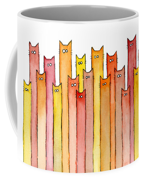 Watercolor Coffee Mug featuring the painting Cats Autumn Colors by Olga Shvartsur