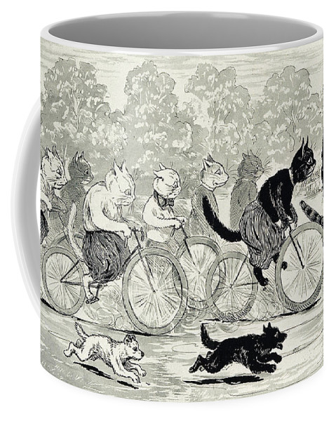 History Coffee Mug featuring the photograph Cats In A Bicycle Race, Hyde Park, 1896 by Wellcome Images