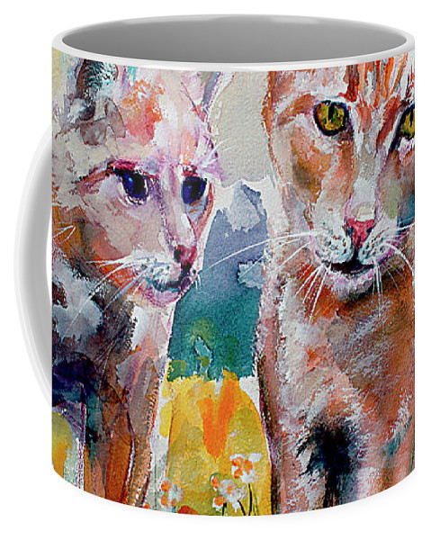Cats Coffee Mug featuring the painting Cats in the Garden Happy Days by Ginette Callaway