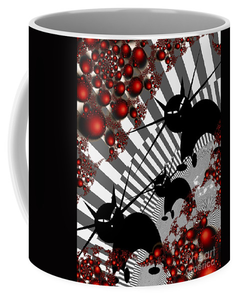 Modern Coffee Mug featuring the digital art Cats On The Quiet by Issabild -