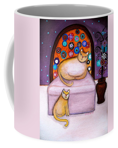 Poodle Coffee Mug featuring the painting Cats Waiting by Pristine Cartera Turkus