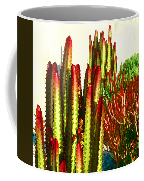 Landscape Coffee Mug featuring the painting Catus Garden by Amy Vangsgard