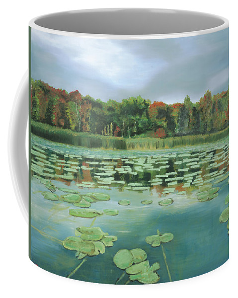Lake Coffee Mug featuring the painting Caught In Between by Kelly Korver